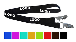 Silk Screened Custom Polyester Lanyard With Double Clips