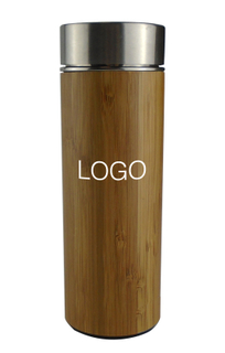Custom Logo 14 Oz Bamboo Thermal Vacuum Insulated Tumbler