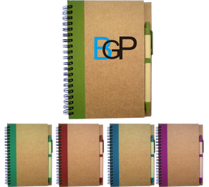 Custom Promotional Recycled Spiral Notebook With Pen