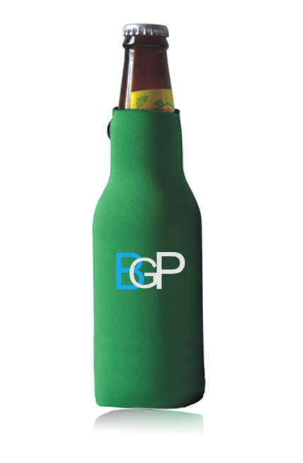 Promotional Zippered Bottle Cooler Holder With Sewn Bottom