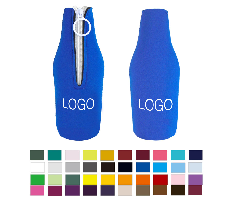Promotional Custom Neoprene Zip Up Single Bottle Cooler