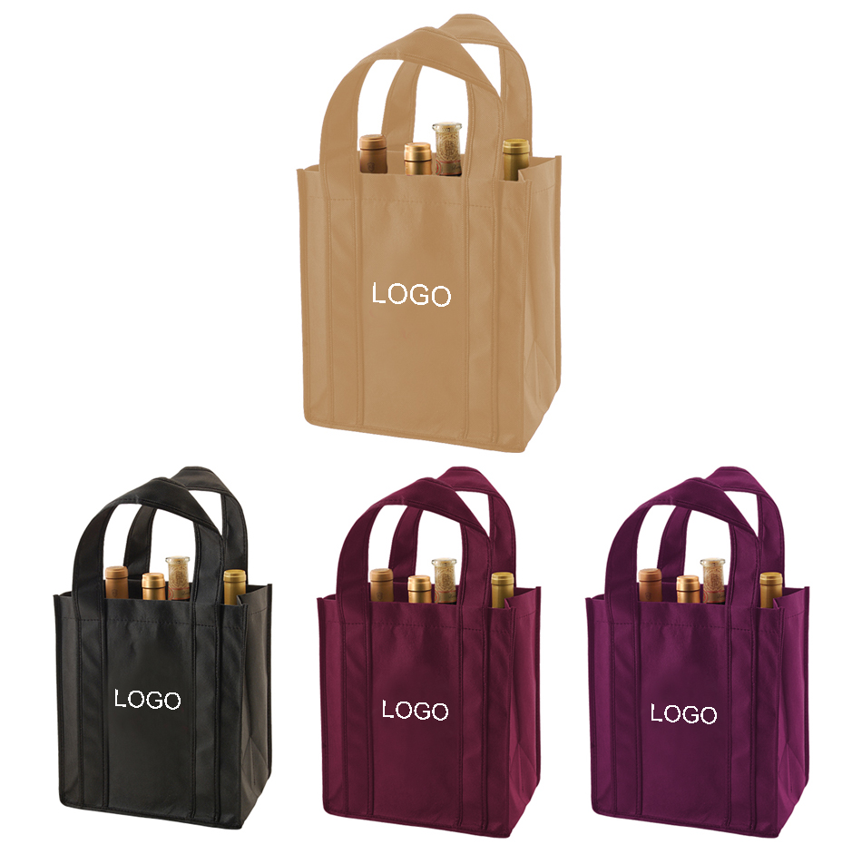 Recycled Custom Non-woven 6 Bottle Wine Totes