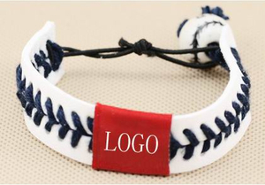 Kids Hand Stitched Softball Leather Stretch Bracelet
