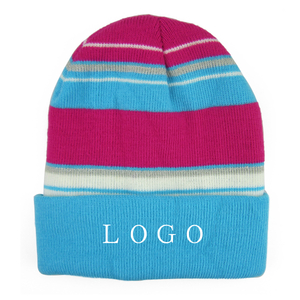 Adults Acrylic Knit Multi-color Striped Beanies