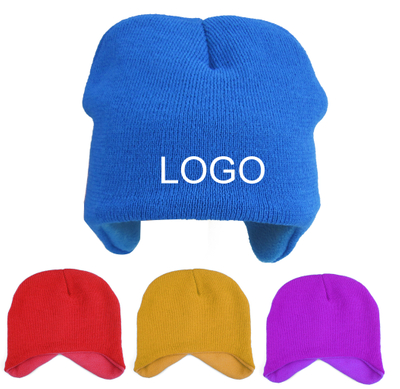 Winter Kids Ear Flap Beanie Hat With Fleece Lining