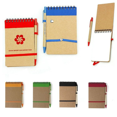 Imprinted Eco Pocket Spiral Notebook and Pen
