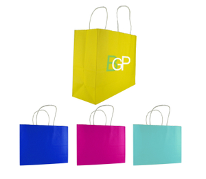 Custom Logoed Recycled Colorful Kraft Paper Gift Shopping Bag