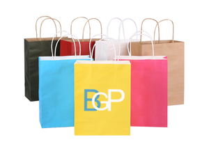 Custom Logo Eco-friendly Colorful Kraft Paper Gift Shopping Bag