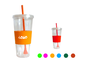Custom Logo 22 oz. Double Wall Tumbler With Straw