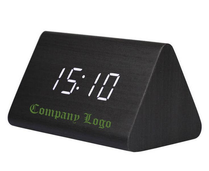 Customized Sound Control Triangle Wood Alarm Clock