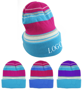 Kids Acrylic Striped Beanies