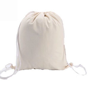 Heavy Duty Natural Cotton Drawstring String Backpack Bag
