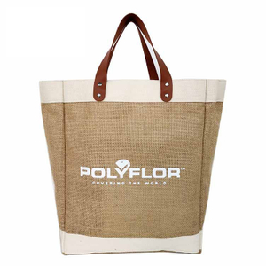 Large Burlap Jute Market Tote Bag With Leather Handles